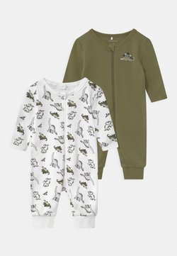 Name it - NBMNIGHTSUIT ZIP LODEN DINO 2 PACK UNISEX - Pyjama - loden green