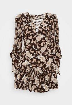 Glamorous Petite - RUFFLE MINI DRESSES WITH PUFF LONG SLEEVES - Freizeitkleid - dark brown