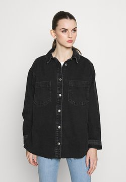 Topshop - OVERSHIRT - Button-down blouse - black denim