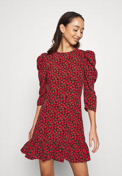Topshop - GRUNGE ROSE MINI - Freizeitkleid - red