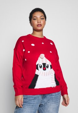 New Look Curves - CURVES XMAS PENGUIN FAMILY JUMPER - Neule - red