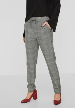 Vero Moda - VMEVA CHECKED PANTS  - Stoffhose - grey