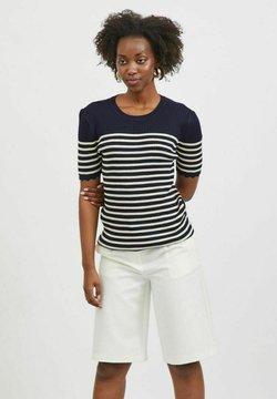 Vila - MIT KURZEN ÄRMELN - T-Shirt print - navy blazer