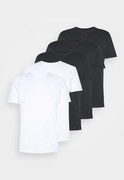Pier One - 5 PACK - Basic T-shirt - black/white