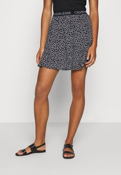 Calvin Klein Jeans - FLORAL SKIRT WITH LOGO TAPE - A-Linien-Rock - black/white