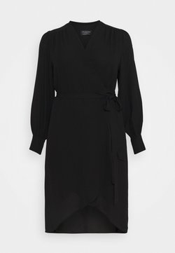 Selected Femme Curve - SLFLAVA WRAP DRESS  - Korte jurk - black