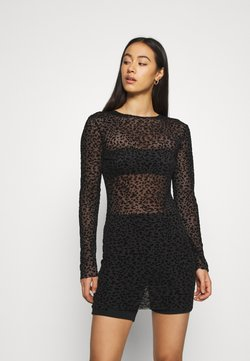 Missguided - HALLOWEEN FLOCKED BODYCON DRESS - Shift dress - black