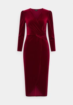 Miss Selfridge - VELVET WRAP MIDI DRESS - Cocktailkleid/festliches Kleid - red