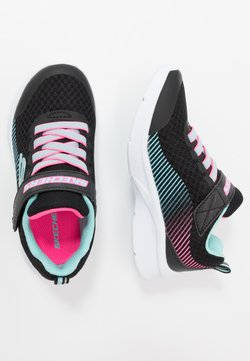 Skechers - MICROSPEC - Sneaker low - black/aqua/neon pink