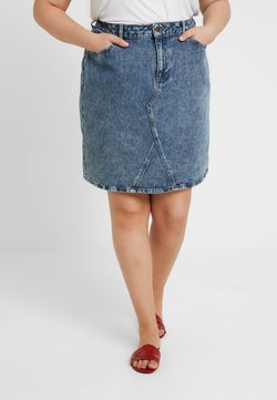 New Look Curves - MID EVA SKIRT - Farkkuhame - mid blue