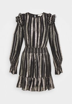 MICHAEL Michael Kors - STRIPE DRESS - Sukienka koktajlowa - black/silver