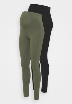 MAMALICIOUS - MLLEA LONG 2 PACK - Leggings - black/thyme