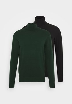 Pier One - 2 PACK - Pullover - black/dark green