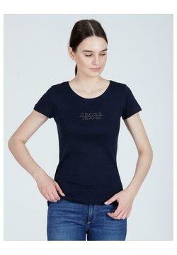 Cross Jeans - APLIKACJĄ - T-shirt z nadrukiem - granatowy