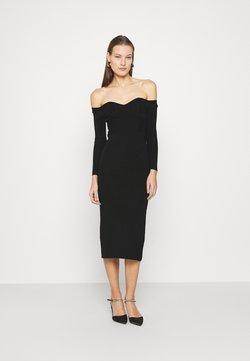 Who What Wear - OFF THE SHOULDER DRESS - Strickkleid - black