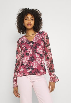 Vila - VIFALIA V-NECK BLOUSE - Bluse - pink rose flower