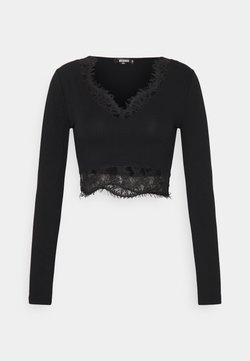 Missguided - CROP - Bluzka z długim rękawem - black
