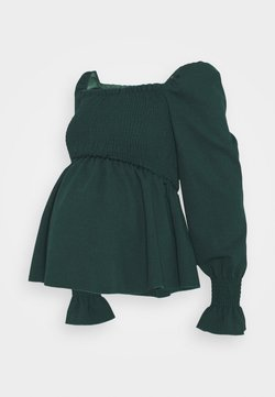 New Look Maternity - SHIRRED PEPLUM - Camiseta de manga larga - dark green