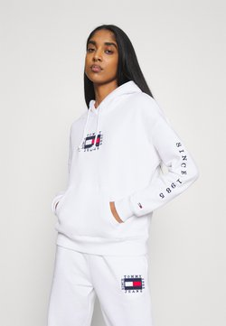 Tommy Jeans - BOX FLAG HOODIE - Sweat à capuche - white
