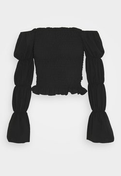 New Look - OFF THE SHOULDER SHIRRED SLEEVE TOP - Maglietta a manica lunga - black