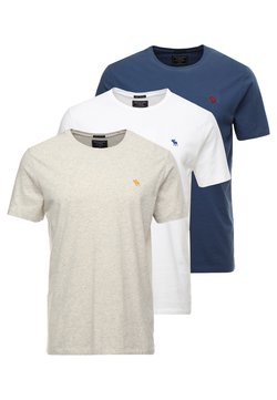 Abercrombie & Fitch - 3 PACK - Basic T-shirt - blue/white/grey