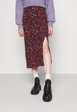 Even&Odd - Midi high slit high waisted skirt - Falda de tubo - black/multi-coloured