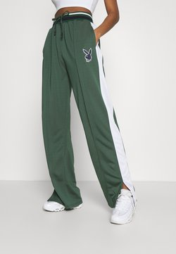 Missguided - PLAYBOY VARSITY WIDE LEG TRICOT PANTS - Jogginghose - green
