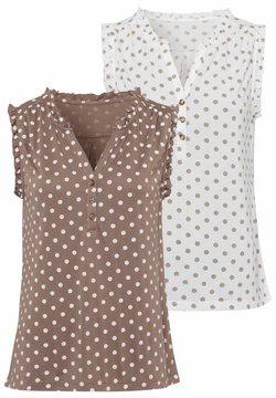 LASCANA - 2 PACK - Bluse - weiß-gepunktet+taupe-gepunktet