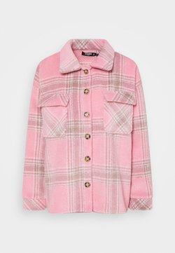 Missguided Petite - BRUSHED CHECK SHACKET - Hemdbluse - pink