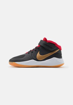 Nike Performance - TEAM HUSTLE D 9 FLYEASE UNISEX - Zapatillas de baloncesto - dark smoke grey/metallic gold/white
