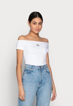 Calvin Klein Jeans - MONOGRAM SLIM BARDOT TOP - T-Shirt print - white