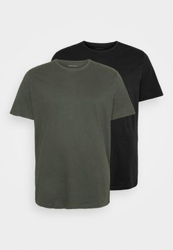Pier One - 2 PACK  - Basic T-shirt - khaki_black
