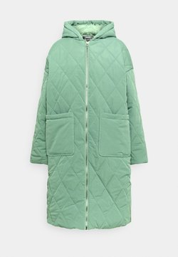 Missguided - QUILTED LONGLINE COAT - Parka - green