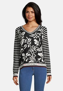 Betty Barclay - MIT BLUMENPRINT - Strickpullover - black\white