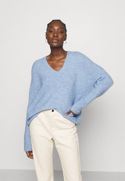 Mos Mosh - THORA V NECK - Sweter - bel air blue