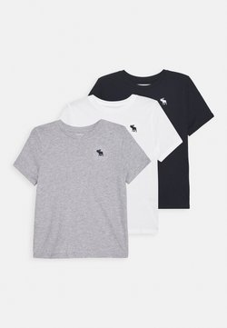 Abercrombie & Fitch - CREW 3 PACK - T-Shirt print - navy/white/grey