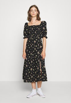 New Look - DOBBY PUFF SHIRRED MIDI - Maxikjoler - black