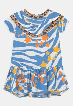 Never Fully Dressed Kids - AQUA ZEBRA FRILL DRESS - Jerseykleid - blue