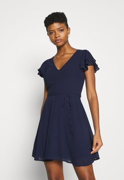 Nly by Nelly - DOUBLE FLOUNCE SLEEVE DRESS - Cocktailkleid/festliches Kleid - navy