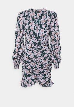 Miss Selfridge - FLORAL RUCHED MINI DRESS - Freizeitkleid - purple