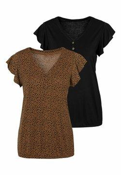 LASCANA - 2 PACK - T-Shirt print - braun+schwarz