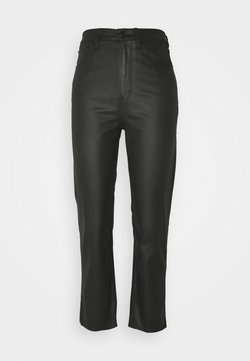 Abercrombie & Fitch - COATED CURVY STRAIGHT LEG  - Jeans Straight Leg - coated black