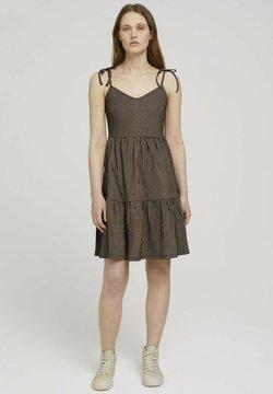 TOM TAILOR DENIM - Jerseykleid - black beige structured stripe
