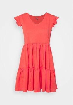 ONLY Petite - ONLMAY LIFE CAP SLEEVES FRILL DRESS - Vestido ligero - cayenne