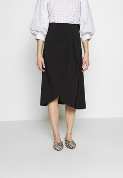 Selected Femme - SLFJADE MIDI WRAP SKIRT - Jupe trapèze - black