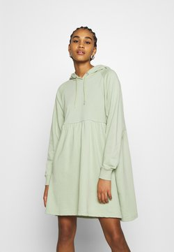 Monki - MALIN HOODIE DRESS - Freizeitkleid - green dusty light