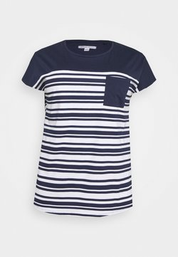 CAPSULE by Simply Be - CURVED HEM TEE WITH BUTTON DETAIL - T-Shirt print - black/ivory stripe