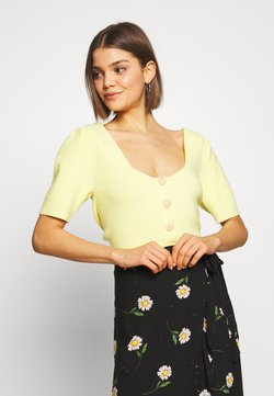 Lost Ink - BUTTON FRONT KNITTED - Camiseta estampada - yellow