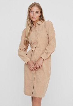 Vero Moda - CORD - Blusenkleid - beige