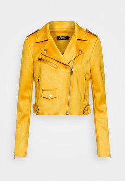 ONLY Tall - ONLSHERRY CROP  BONDED BIKER - Imitatieleren jas - golden yellow